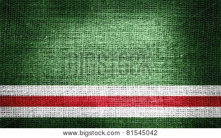 Chechen Republic of Ichkeria on burlap fabric