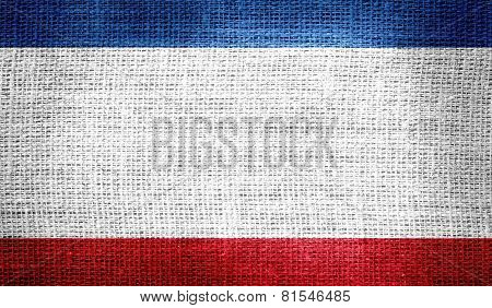 Autonomous Republic of Crimea flag on burlap fabric