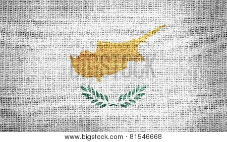 Cyprus flag on burlap fabric