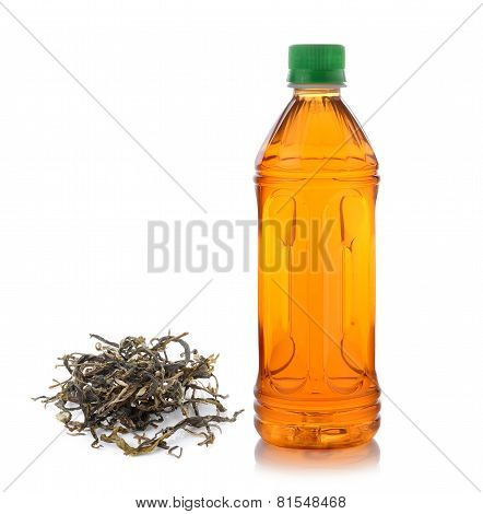 Bottle Of Ice Tea And Green Tea On White Background