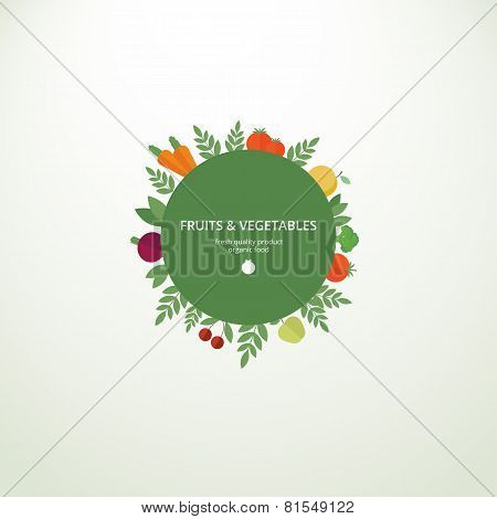 Label With Fresh Fruits And Vegetables