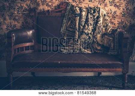 Vintage Sofa And Vintage Blanket