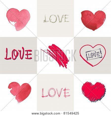 Romantic Pastel Inscription Love On The Background Of Stylized Heart. Set.