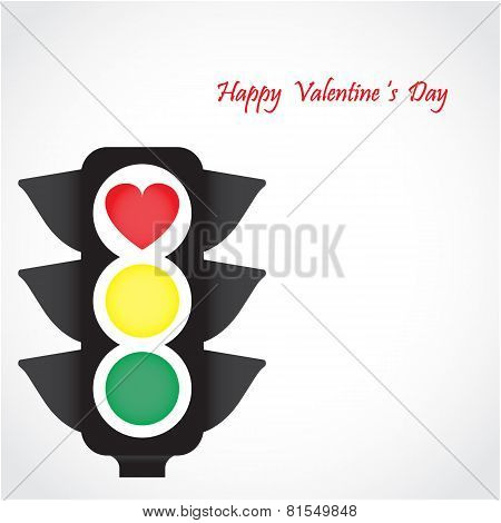 Traffic Light Icon With Red Heart Sign.