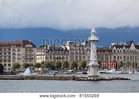 view of city of Geneva the Leman Lake in Switzerland