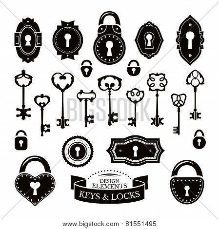 Set Of Different Vintage Keys And Keyholes And Locks