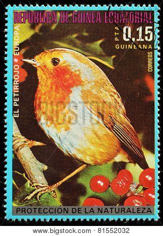 Equatorial Guinea  - Circa 1980: A Stamp Printed In Equatorial Guinea Shows Forest Bird , Circa 1980
