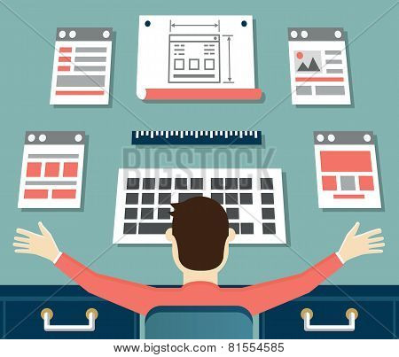 Vector Flat Illustration Of Application Or Website Development. Working Process Of Design And Progra