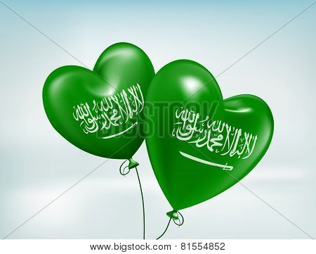 Love Saudi Arabia Hearts Balloons Flag