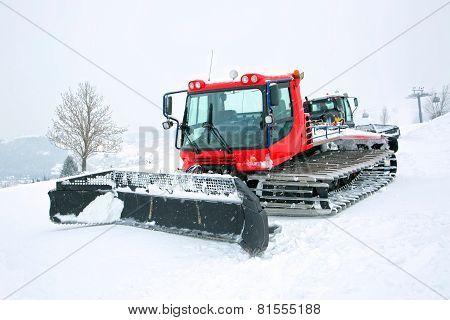 Red ratrak in winter scenery