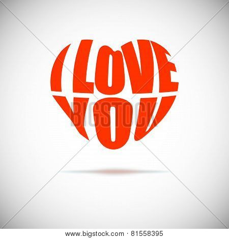 Heart formed from I love you text.