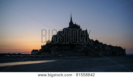 Sunset At Le Mont Sent Michel, France