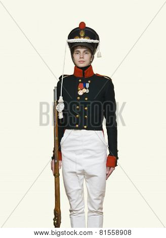 Young Man In Uniform Of Russian Soldier Of Xix Century