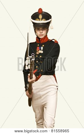 Boy In Uniform Of Soldier In Xix Century