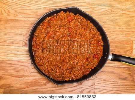 Black Skillet Of Hot Chili