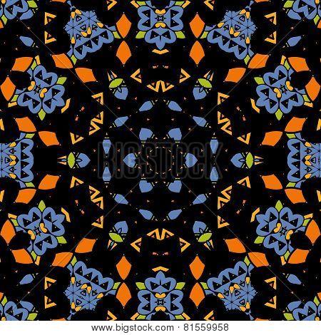 Vector seamless pattern. Oriental mandala endless tribal motif