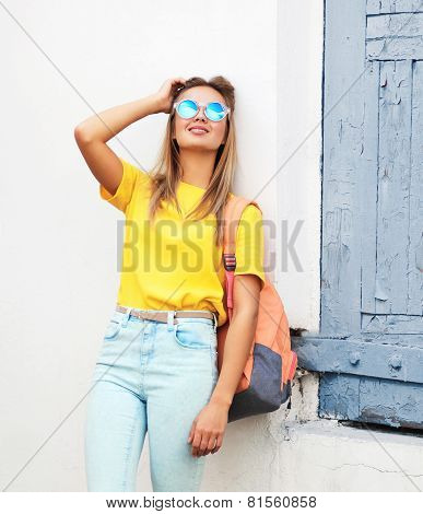 Summer, Fashion And People Concept - Pretty Cool Hipster Girl In Sunglasses