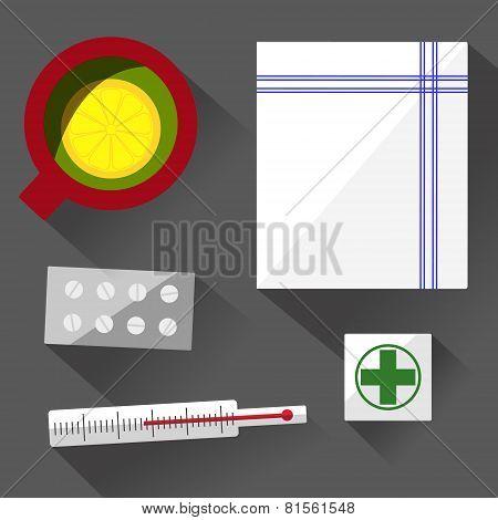 Illness still life flat design