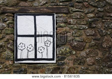 Cartoon Window And Flowers