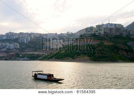 City Yangtze River With Boat