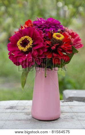 Bouquet Of Red Flowers In A Vase