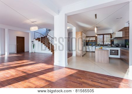 Spacious Hall And Open Kitchen