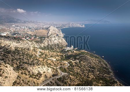 View to Sudak Bay and the Black Sea from a height