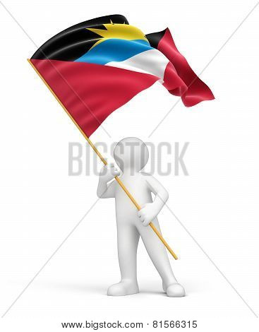 Man and Antigua and Barbuda flag (clipping path included)