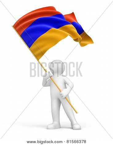 Man and Armenian flag (clipping path included)