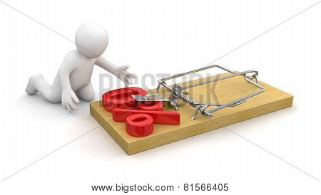 Man and Mousetrap with Percentage Sign 0% (clipping path included)