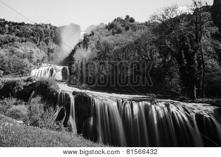 Marmore Falls in black and white