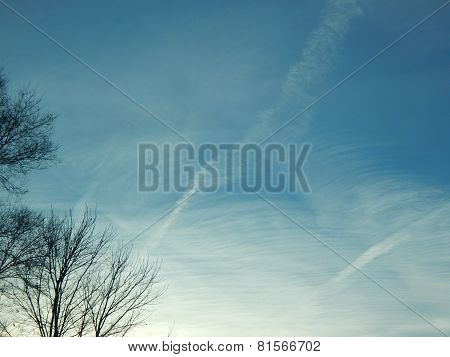 cloudy contrail sky