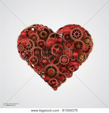 Heart made of metal cogwheel