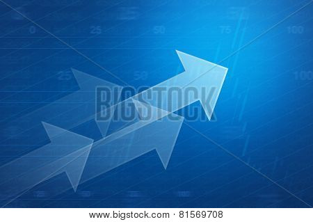 Arrow On Financial Graph And Chart For Business Background