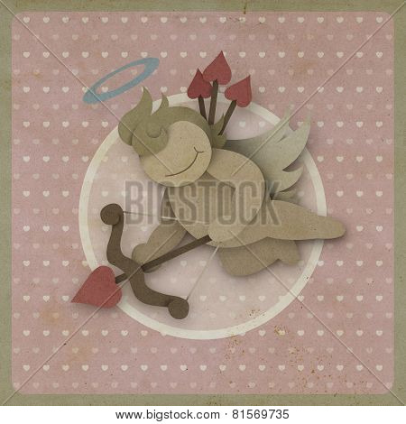 Cupid Shoot Bow Love Heart On Vintage Background, Recycled Paper
