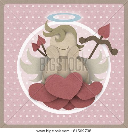 Cupid Sit On Heart Love Could On Retro Background, Recycled Paper