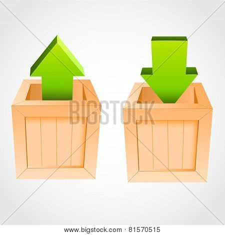 Upload download vectorwooden box