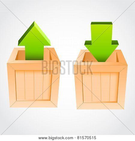 Upload download vectorwooden box