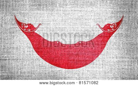 Flag of Easter Island (CHILE) on burlap fabric