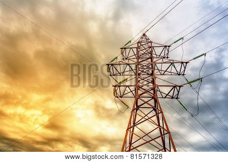 High Voltage Line And Thunderclouds
