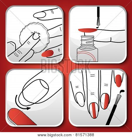 Vector red manicure icons