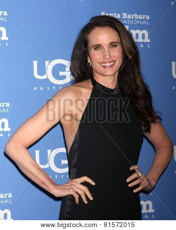 SANTA BARBARA - JAN 31:  Andie MacDowell at the Santa Barbara International Film Festival - Modern Master at a Arlington Theater on January 31, 2015 in Santa Barbara, CA