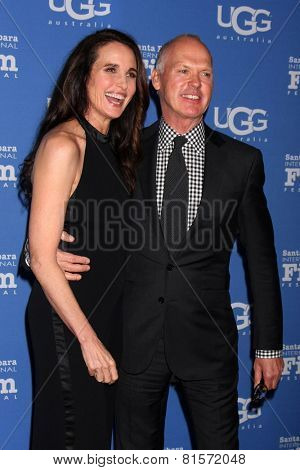 SANTA BARBARA - JAN 31:  Andie MacDowell, Michael Keaton at the Santa Barbara International Film Festival - Modern Master at a Arlington Theater on January 31, 2015 in Santa Barbara, CA