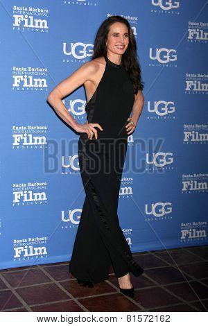 SANTA BARBARA - JAN 31:  Andie MacDowell at the Santa Barbara International Film Festival - Modern Master at a Arlington Theater on January 31, 2015 in Santa Barbara, CA