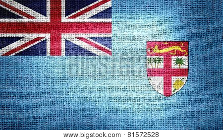 Fiji flag on burlap fabric