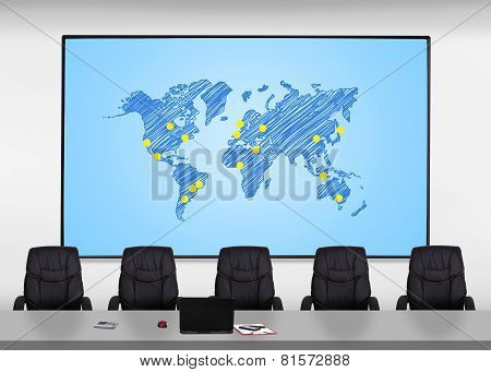 Screen With World Map