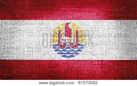 French Polynesia flag on burlap fabric