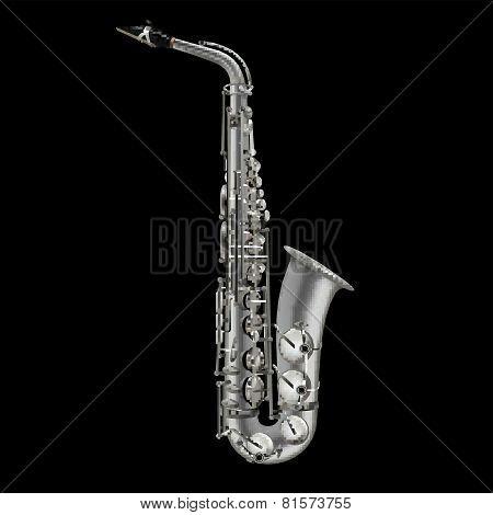 Photorealistic Saxophone Isolated On A Black Background