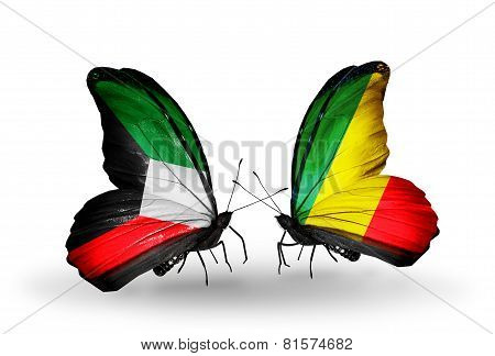 Two Butterflies With Flags On Wings As Symbol Of Relations Kuwait And Kongo