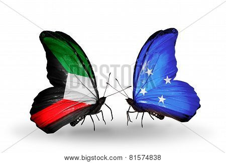 Two Butterflies With Flags On Wings As Symbol Of Relations Kuwait And Micronesia